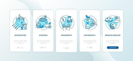 tela da página do aplicativo móvel de integração da medicina tradicional com conceitos vetor