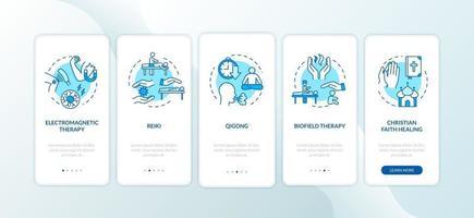 tela da página do aplicativo móvel de medicina de energia externa com conceitos vetor
