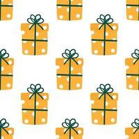 Natal embrulhado apresenta padrão de vetor de repetição perfeita