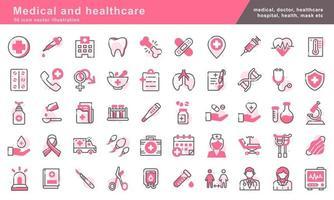 50 ícones de medicina e saúde definir ilustração vetorial vetor