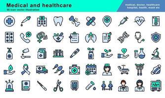Ilustração de 50 ícones do vetor de contorno preenchido com medicina e saúde