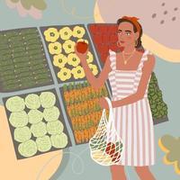 ilustração de uma linda garota jovem comprando comida na loja ou no mercado vetor
