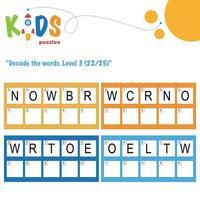 decodificar as palavras escondidas. planilha lógica fácil de imprimir para crianças vetor