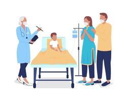 pediatra consultando pais preocupados personagens semi-planos de cores vetor
