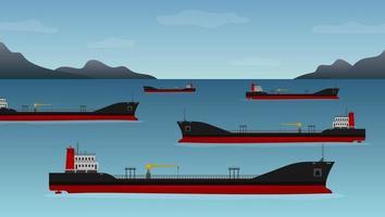 cinco petroleiros flutuam na costa da Califórnia vetor