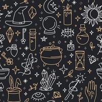 um padrão sem emenda mágico com ícones de estilo doodle vetor