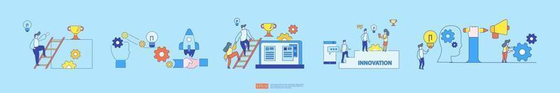 processo de ideias de inovação de brainstorming e conceito de pensamento criativo vetor