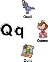 letra do alfabeto q-codorna, rainha, ilustração da colcha vetor