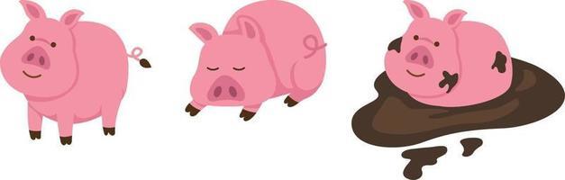ilustração de porco isolado em fundo branco vetor