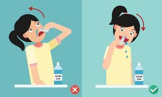 maneiras certas e erradas de limpar suas narinas, ilustração vetorial. vetor