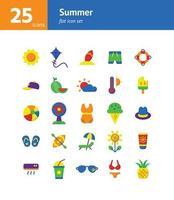 conjunto de ícones plana de verão. vetor