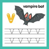 alfabeto v exercício com ilustração de vocabulário de desenho animado, vetor