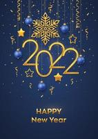 feliz ano novo de 2022. pendurados números metálicos dourados 2022 vetor