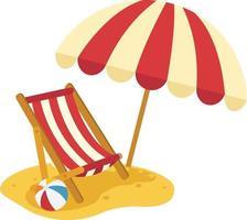 espreguiçadeira de praia de madeira com ilustração de guarda-chuva vetor