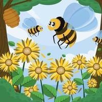abelha e os girassóis vetor