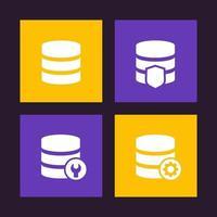 banco de dados, ícones de armazenamento de dados vetor