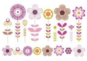 Pacote de vetores de flores rosa e ouro