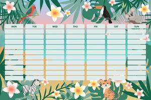 planejador escolar semanal para crianças com animais e folhas tropicais, organizador vetor