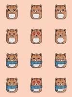 ilustração de gato fofo kawaii squishmallows estilo animal clip-art vetor