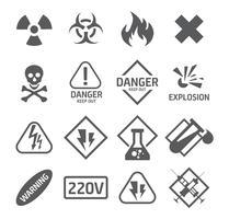 Conjunto de ícones de perigo