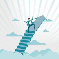 empresário feliz no degrau superior do sucesso vetor