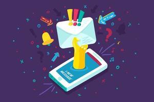 vetor de comunicação de notificação de dispositivo móvel