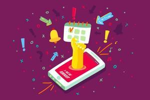 vetor de notificação de calendário de dispositivo de telefone celular