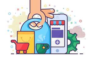 encomendar produtos online através do vetor de aplicativo do telefone