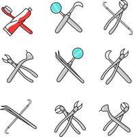 conjunto de ferramentas de equipamentos odontológicos isolados ilustração vetorial dentes vetor