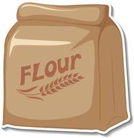 adesivo pacote de saco de farinha em fundo branco vetor