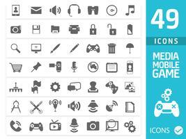 Conjunto de ícones de mídia (conjunto de 50 ícones de qualidade)
