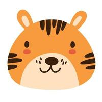 rosto animal tigre bebê fofo em estilo infantil simples escandinavo. vetor