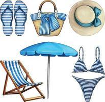 elementos de praia em aquarela azul e branco vetor