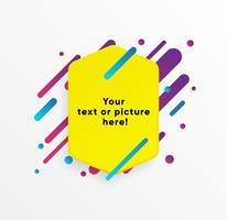 Forma abstrata amarela da caixa de texto com linhas e círculos de néon na moda. Vetor de fundo.