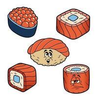 desenhos animados ilustrações vetoriais de sushi vetor