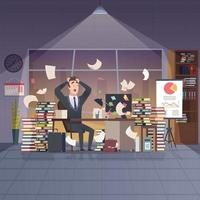 Gerente de escritório ocupado, trabalho duro, prazo, estresse, caos, interior vetor