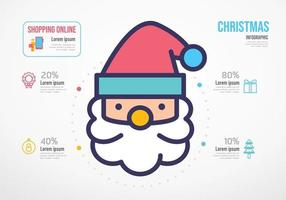 infográfico de recursos de compras de Natal de papai noel. conceito de negócios vetor