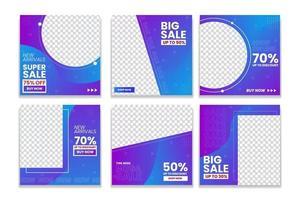 conjunto de modelos de venda de mídia social. postagens de vendas quadradas editáveis. vetor