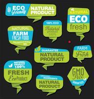 Eco Vintage Labels Bio template set Projeto retrô de ecologia vetor