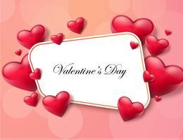 Fundo de dia dos namorados com caixa de texto e corações bonitas. Ilustração vetorial vetor