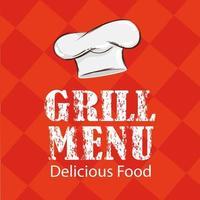 cartaz de letras de menu de grelhados com chef de chapéu vetor