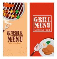 conjunto de pôster do menu de grelhados com comida deliciosa vetor