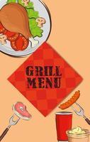 cardápio de grelhados com toalha de mesa e comida deliciosa vetor