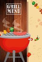 menu de grelhados com comida deliciosa vetor