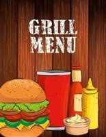 menu de grelhados com hambúrguer delicioso em fundo de madeira vetor