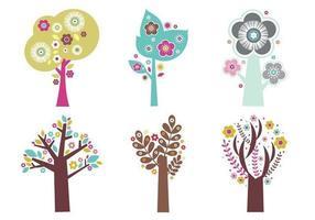 Pacote de vetores de árvores em flor