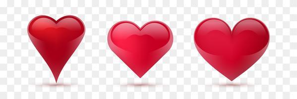 Conjunto de corações de vetor. Ilustração vetorial Coração realista, isolado. - vetor