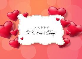 Fundo de dia dos namorados com caixa de texto e corações bonitas. Ilustração vetorial