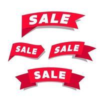etiqueta de fita vermelha de venda. vetor de banner de promoção.
