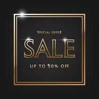venda de oferta especial, texto dourado. vetor